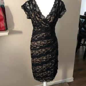 Black Lace Cocktail dress with Nude underlay